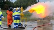 Nieuwe speeltje om gasbranden te leren blussen in opleidingscentrum WOBRA