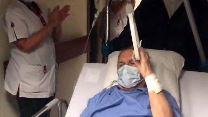 Eddy (67) mag als eerste coronapatiënt  - onder luid applaus - de intensieve afdeling verlaten in AZ-Diest