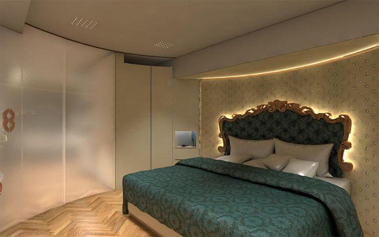 Een gigantische slaapkamer voor een mobilhome.