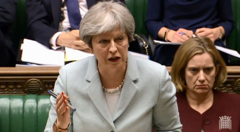 2018-03-26 16:27:13 A video grab from footage broadcast by the UK Parliament's Parliamentary Recording Unit (PRU) shows Britain's Prime Minister Theresa May during a debate on Russia and the European Council in the House of Commons in London on March 26, 2018. / AFP PHOTO / PRU / HO / RESTRICTED TO EDITORIAL USE - MANDATORY CREDIT