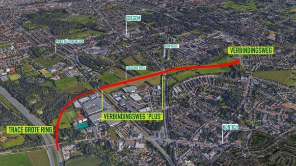 Mogelijk het toekomstig tracé van de noordelijk verbindingsweg tussen Edegem en Kontich.