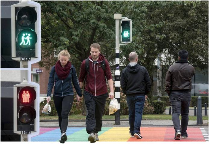 De homovriendelijke verkeerslichten completeren het regenboogzebrapad in Arnhem.