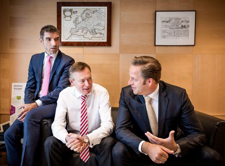 Staatssecretaris Paul Blokhuis en de ministers Bruno Bruins en Hugo de Jonge. Beeld Freek van den Bergh/de Volkskrant