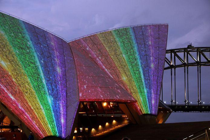 Sydney Opera House viert de invoer van het homohuwelijk
