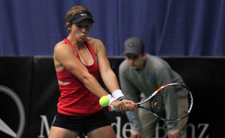 An-Sophie Mestach tijdens een Fed Cup-duel voor België.