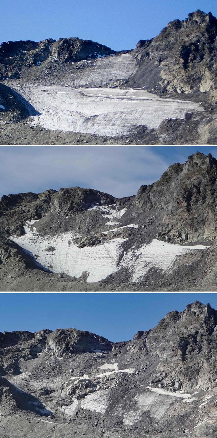 Évolution du Pizol avec trois clichés pris pendant l'été 2006, en août 2017 et en septembre 2019 fournis par le glaciologue Matthias Huss