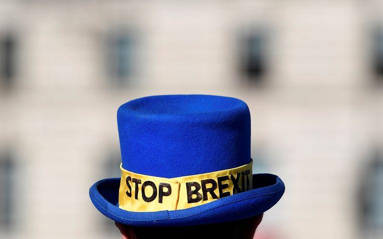 De hoed van demonstrant in Londen is duidelijk.