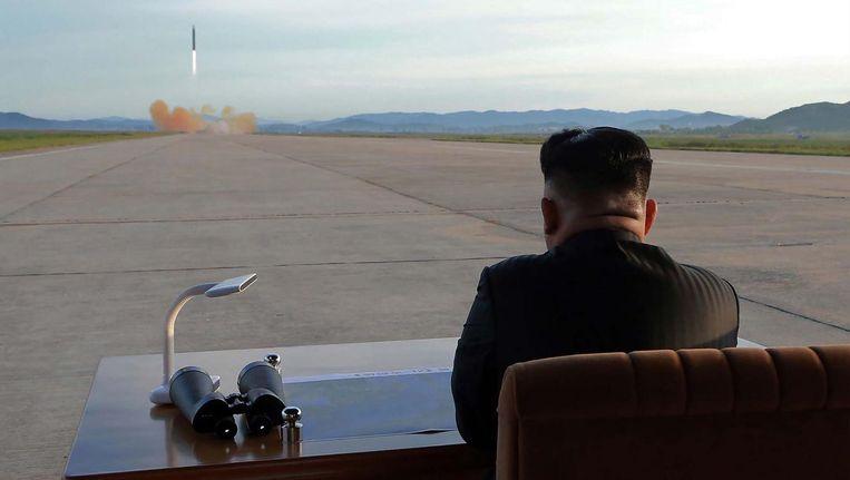 Een ongedateerde foto van Kim Jung-un, uitgevaardigd door de Noord-Koreaanse staatsmedia. Beeld null