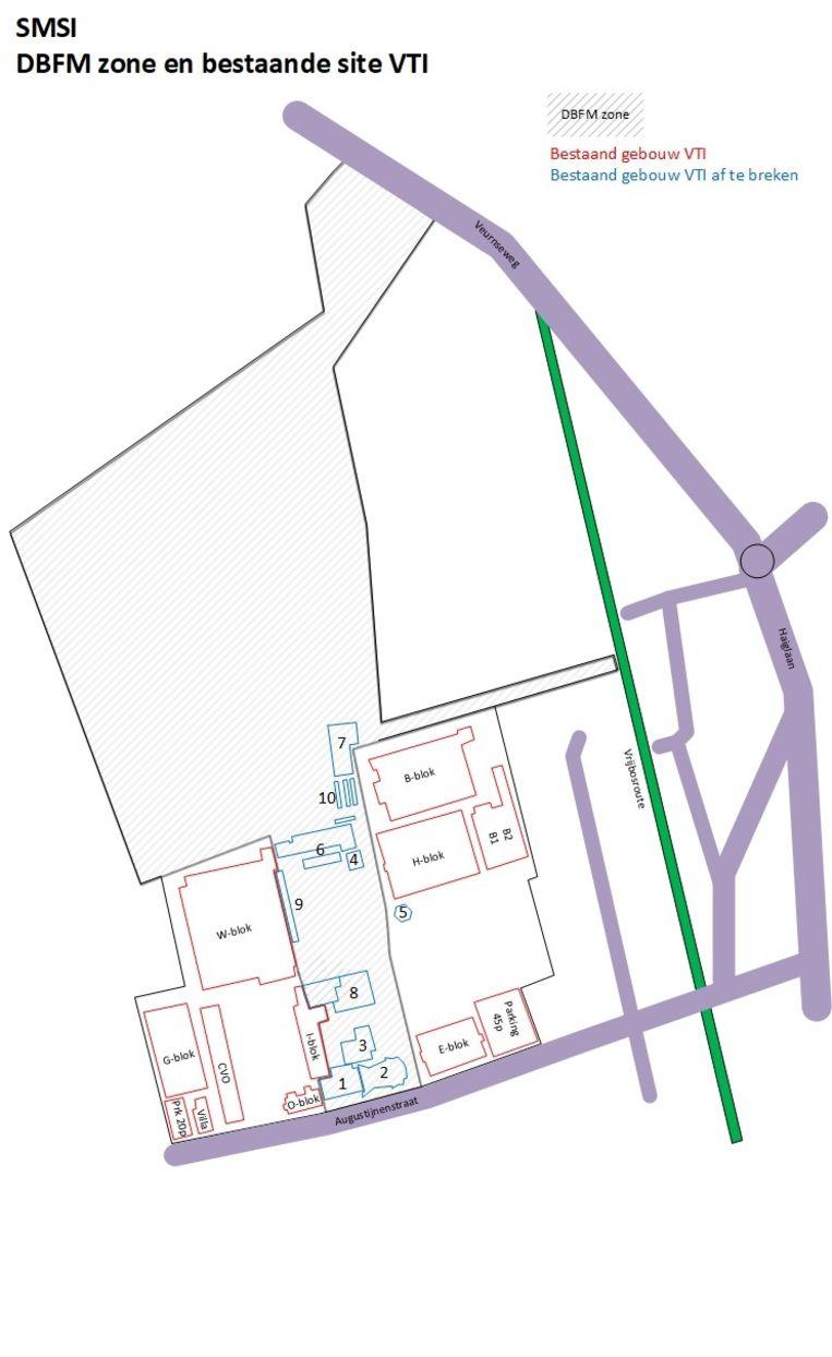 Een plattegrond van de site.
