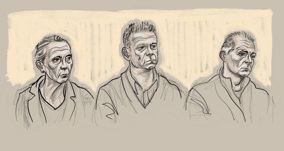 De drie beschuldigde artsen Godelieve T. , Frank D.G. en Joris V.H.