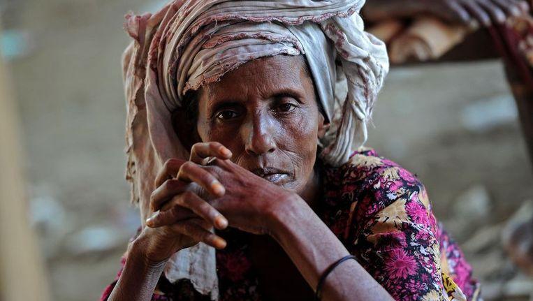Een Rohingya-vrouw in een vluchtelingenkamp in Burma. Beeld AFP
