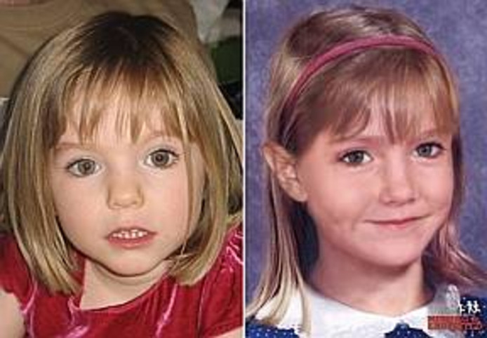 Maddie verdween in 2007 toen ze drie was (links). Rechts een impressie van het meisje op zesjarige leeftijd. Inmiddels zou ze 15 zijn.
