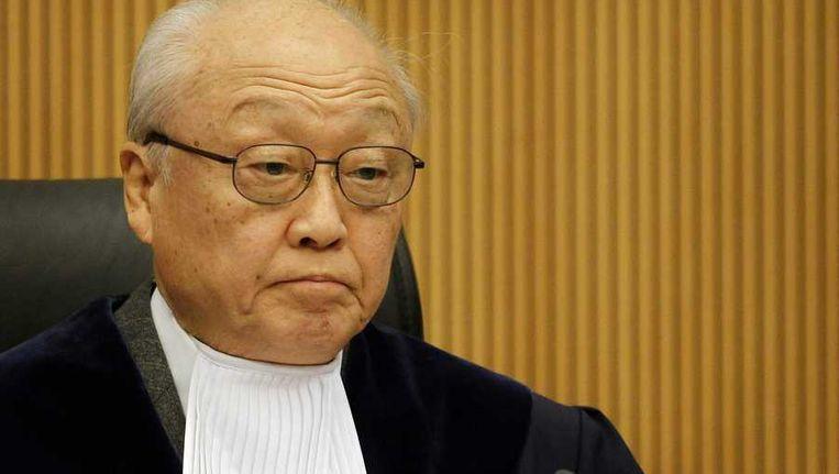 President Shunji Yanai tijdens de uitspraak van het zeerechttribunaal in de zaak met de Artic Sunrise. Beeld anp
