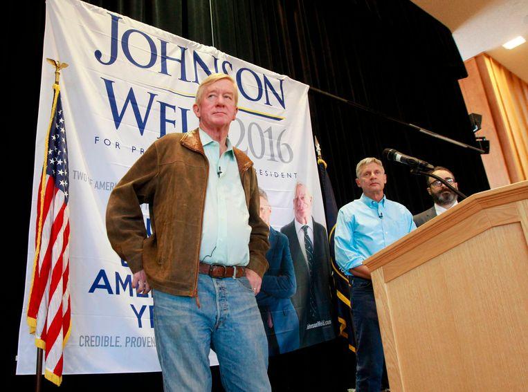 Bill Weld (links) als running mate van Gary Johnson voor de verkiezingen van 2016.
