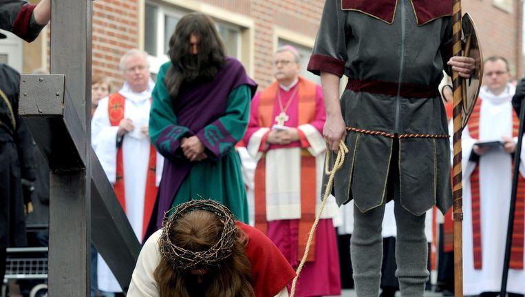 Duitse Katholieken bij een viering in Meppen. Beeld epa