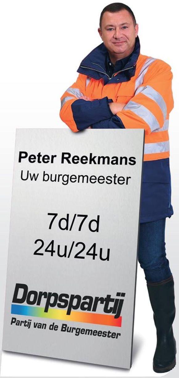 Het verkiezingsbord van Peter Reekmans dat al twee nachten op rij verdween.
