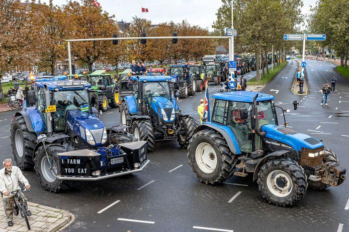 Beeld van het boerenprotest van vorige week.