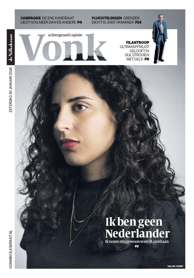 Nadia Ezzeroili op de cover van zaterdagbijlage Vonk van 30 januari. Beeld