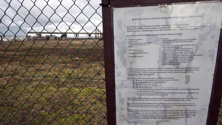 Het terrein in Machelen waar Uplace gepland is.