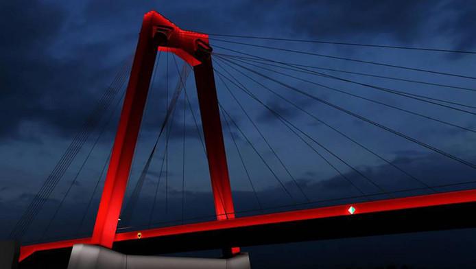 Eerste deel rode verlichting Willemsbrug gaat aan | Rotterdam | AD.nl