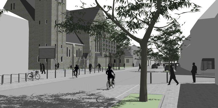 Een nieuw conceptbeeld van hoe de omgeving van de kerk er zal uitzien na de dorpskernvernieuwing.