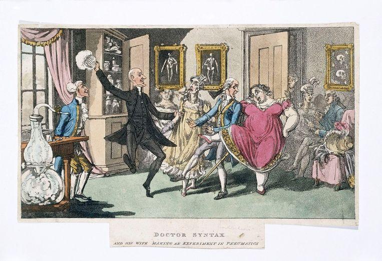 Prent van een lachgasfeestje in de negentiende eeuw.  Beeld