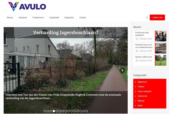 Een screenshot van de Avulo website.