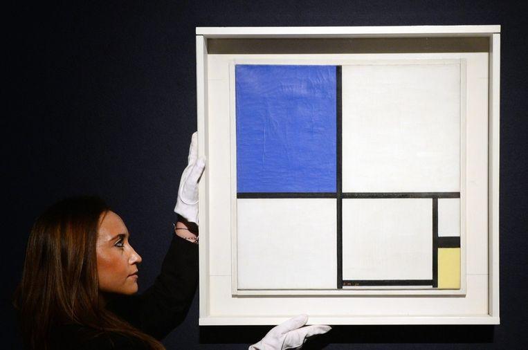 'Compositie No.2 met blauw en geel' van Mondriaan. Beeld null