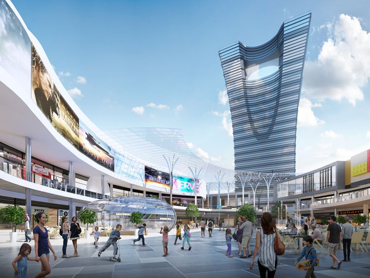 Een ontwerp hoe het Uplace-winkelcentrumproject in Machelen er zou uitgezien hebben.
