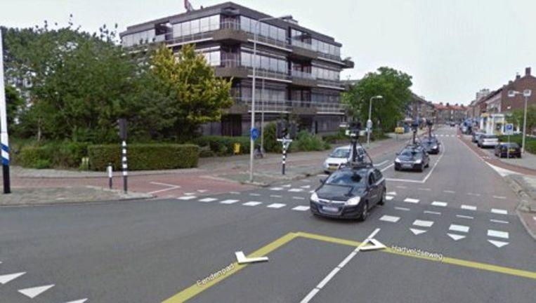 Streetview-foto van auto's met camera's die rondrijden in Amsterdam. Beeld