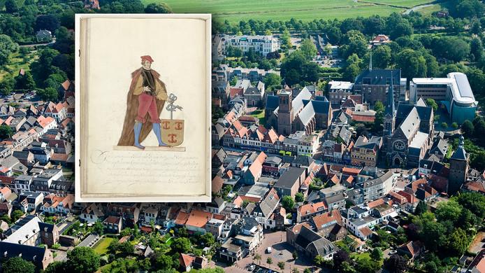 Culemborg van bovenaf. Inzet: Johan van Beusichem, heer van Culemborg die 700 jaar geleden stadsrechten aan Culemborg gaf.