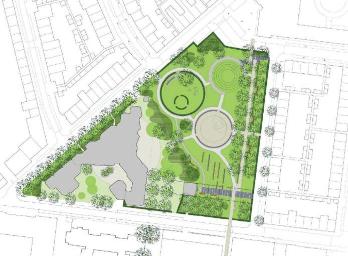 Opzet van het nieuwe Lumenpark. Onder de Lange Nieuwstraat, het grijze vlak links is basisschool Tiliander aan de Buitenstraat.