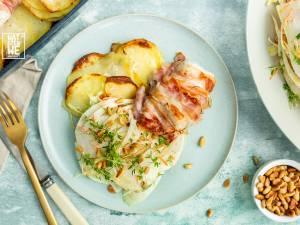 Wat Eten We Vandaag: Kabeljauw met pancetta, aardappelen en venkel-koolsalade