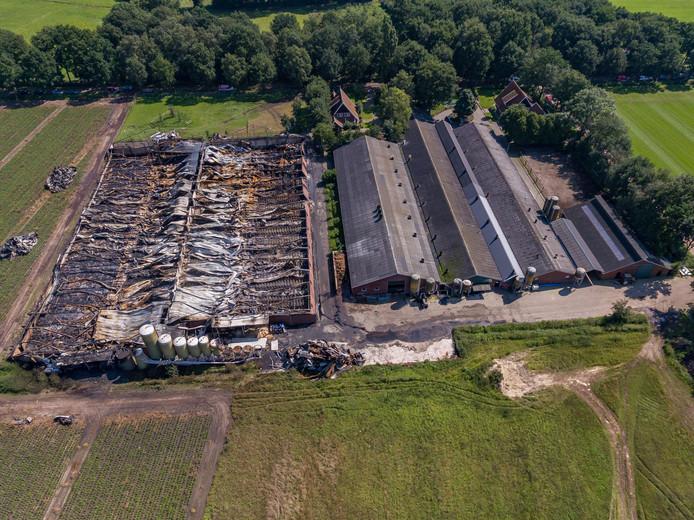 AGELO - Uitgebrande varkensstal waar honderden varkens zijn omgekomen vannacht aan de Oppersveldweg.