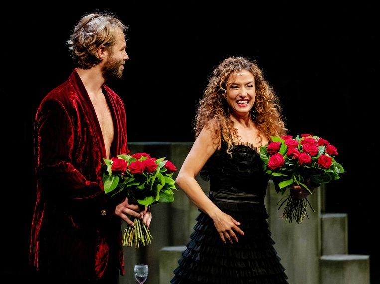 Thijs Romer en Katja Schuurman tijdens de premiere van Blind Date. Beeld ANP