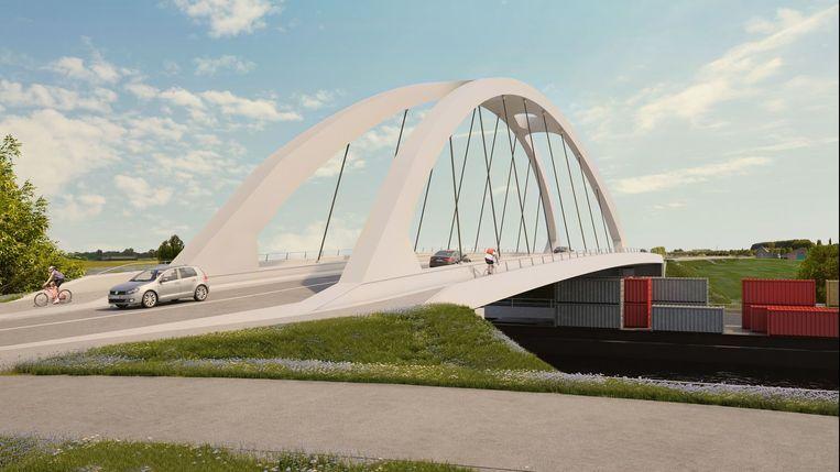 Een blik op de toekomstige nieuwe Leiebrug tussen Marke en Bissegem.