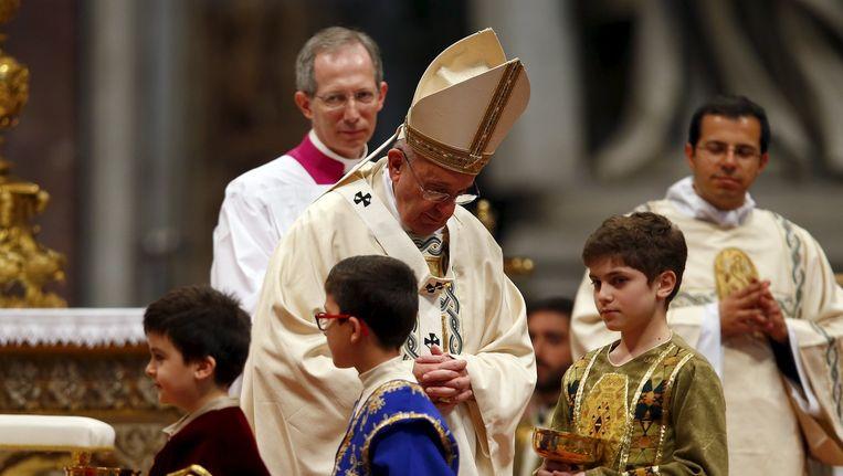 De paus tijdens de speciale dienst ter herdenking van de Armeense genocide. Beeld reuters