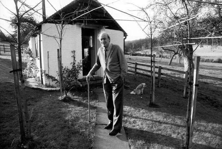 Schrijver Roald Dahl voor zijn 'shed' in Great Missenden, Buckinghamshire. De schrijver noemde het liefkozend zijn nest. Beeld Getty Images