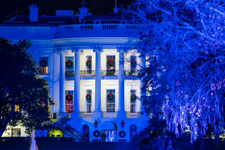 Het Witte Huis is al helemaal in kerstsfeer uitgedost.
