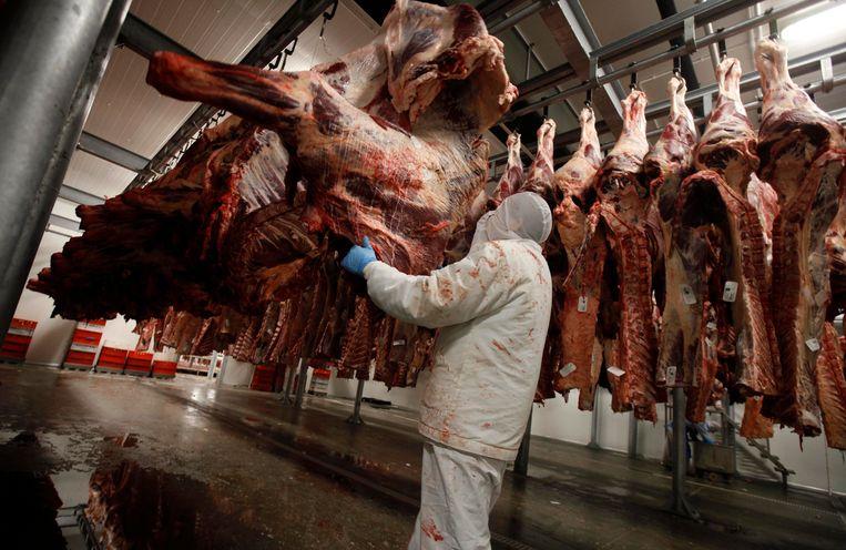 Een Poolse slager met runderkarkassen in een slachthuis in Golina. Beeld REUTERS