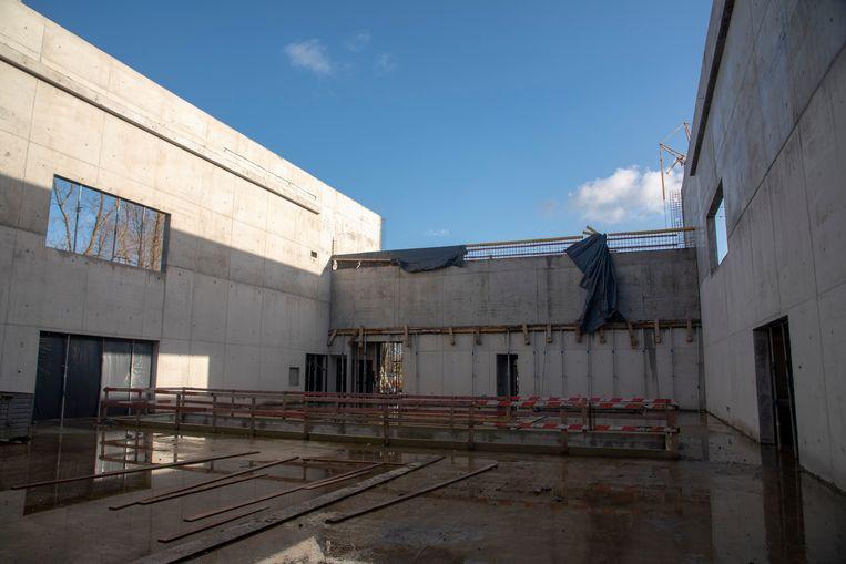 Plaatsbezoek aan het nieuwe Cultuurhuis in Merelbeke. De theaterzaal in aanbouw.