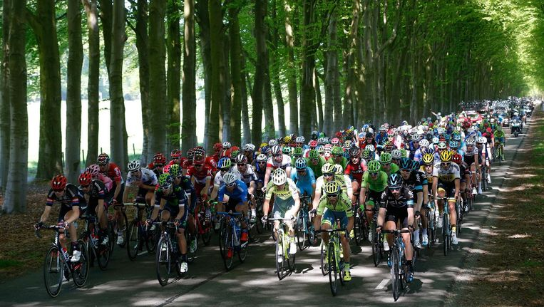 Peloton in actie tijdens de derde etappe van de Ronde van Italië, afgelopen mei. Beeld anp