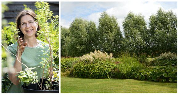 """Laurence Machiels (l): """"Kies de soorten die passen bij de bodem van je tuin en plant grote groepen van één soort: makkelijker te onderhouden dan een gemengde beplanting, en je tuin oogt rustiger en eenvoudiger"""""""