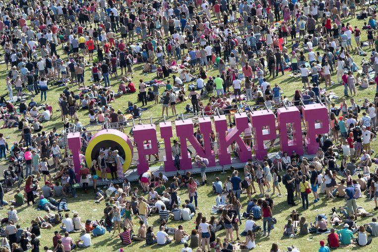 Het festivalterrein van Pinkpop tijdens de vorige editie. Beeld anp