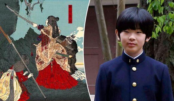 Keizerin Jingu (links). Rechts de laatste hoop van de Japanse monarchie: prins Hisahito (12).