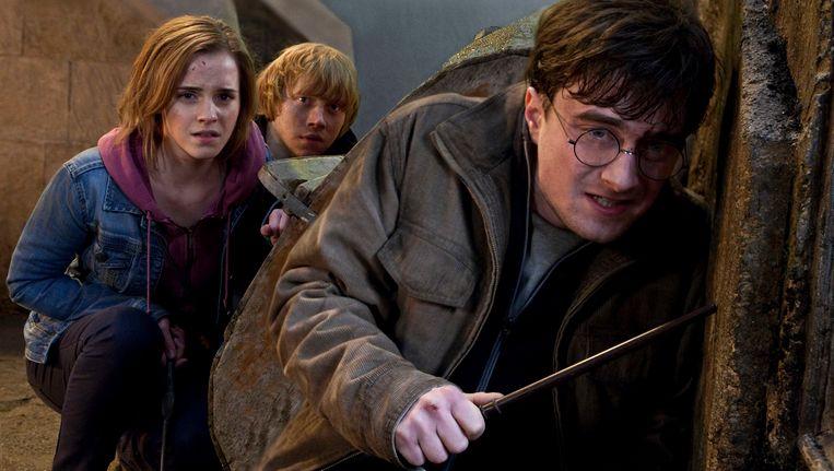 Daniel Radcliffe (voor), Emma Watson en Rupert Grint in Harry Potter and the Deathly Hallows Part 2. Beeld ap
