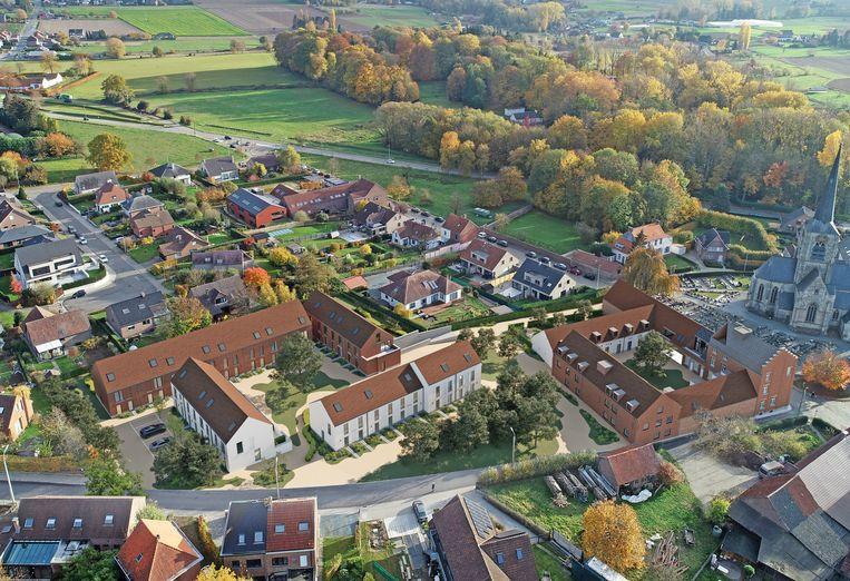 Een toekomstbeeld vanuit de lucht van het nieuwe wooncomplex.