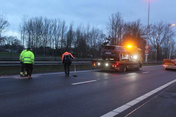 Door het ongeval was de Expressweg N80 even volledig versperd