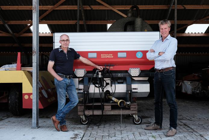 Boer Henk Jolink (links) en projectleider Carel de Vries bij een nieuwe, innovatieve kunstmeststrooier.