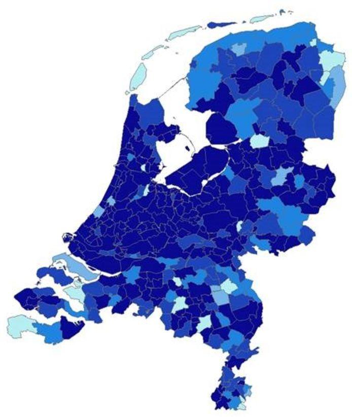 Als je 160.000 tot 260.000 euro te besteden hebt, kun je in de meeste gemeenten gemiddeld uit minder dan twee huizen kiezen (krapte-indicator). Donkerblauw = kleiner dan 2. Lichtblauw = 5 of hoger. Het getal zegt iets over de beschikbaarheid van woningen.